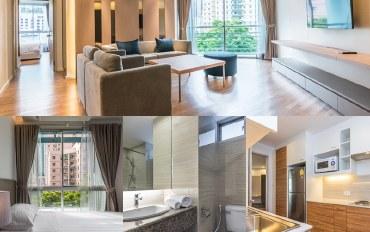 曼谷酒店公寓住宿:三室花园景观104平米公寓_H051