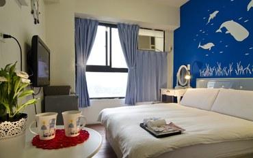 台中酒店公寓住宿:逢甲天空宿蓝色系双人大床房
